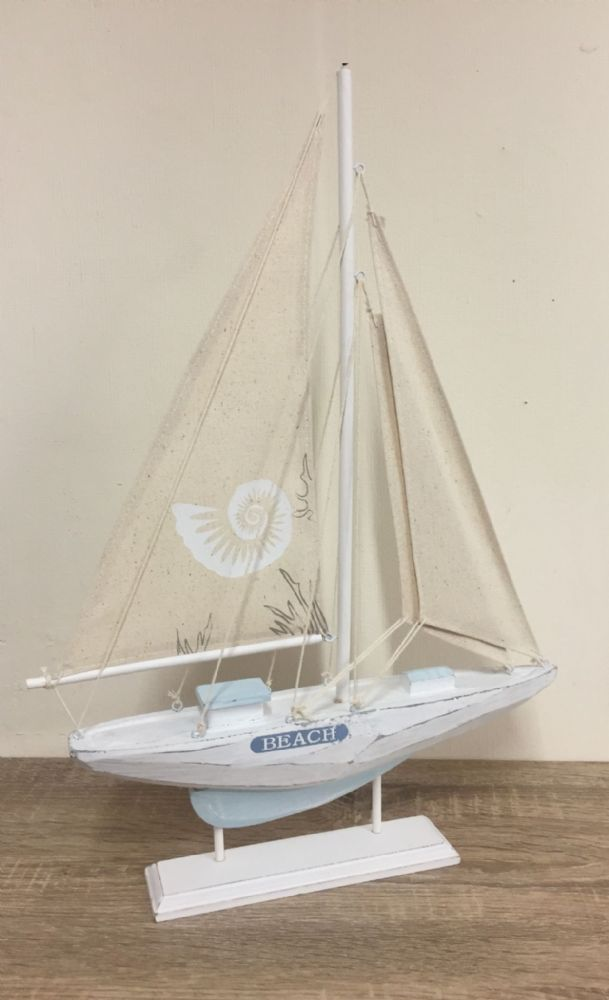 White & Blue 50cm BEACH Distressed Boat Nautical Ornament